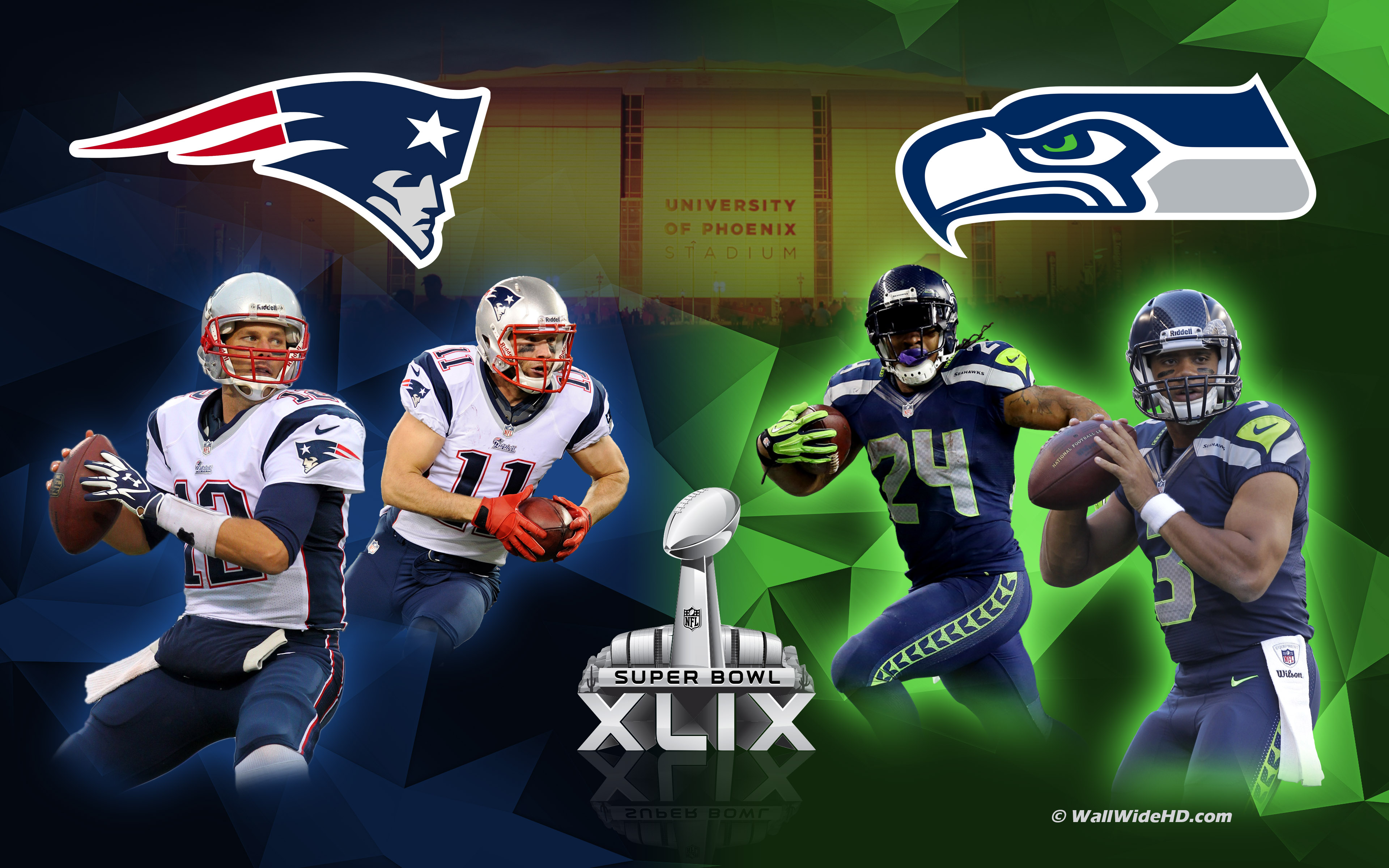 New England Patriots vs Seattle Seahawks 2015 Super Bowl Wallpaper