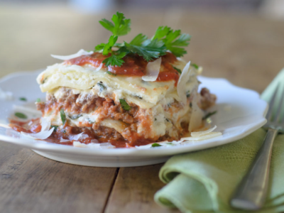 Cheesy Lasagna with Baby Spinach