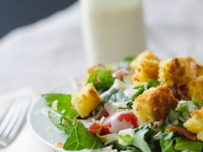 Green Salad with Cornbread Croutons